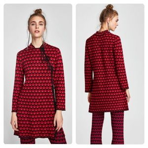 Zara knit print tie front collar dress small